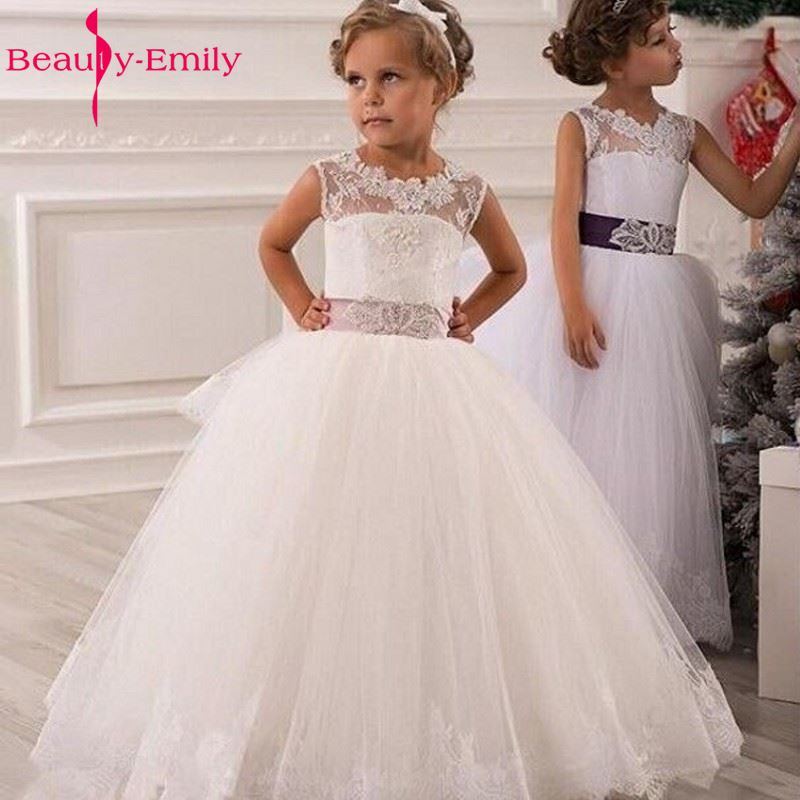 White Flower Girl Dress Lace Up Lace Appliques Ball Gown Layered Organza Wedding Party Dress for