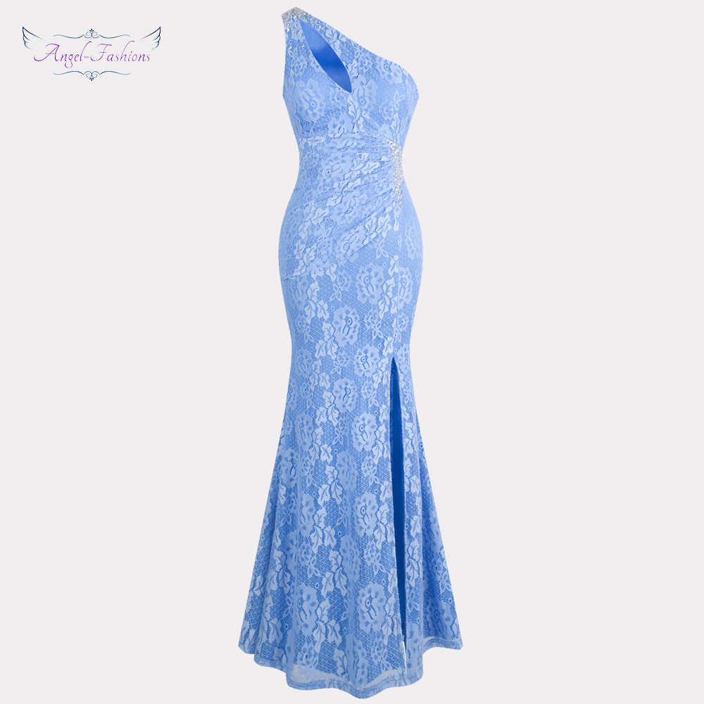 Angel-fashions Women's One Shoulder Pleated   Evening     Dresses   Beading Slit Formal Lace   Dresses   Sky Blue 379