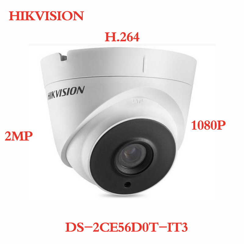 все цены на ANXIE Hikvision DS-2CE56D0T-IT3 2MP 1080P H.264 TVI Dome Camera IP66 Weatherproof IR WDR EXIR Turret CCTV Camera with Logo онлайн