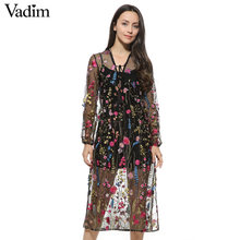 Women sexy floral embroidery mesh maxi dress transparent long dress tie neck long sleeve Vestidos casual loose dresses QZ2716(China)