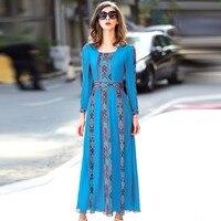 Длинное платье Летний больших размеров женские платья плиссированное платье Европа Винтаж высокого качества вышитые натуральный шелк чис