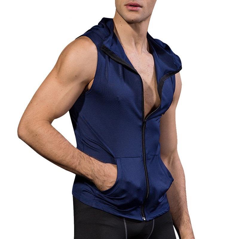 NIBESSER 2019 Men compression Zipper   Tank     Tops   budybuilding fitness tights Sleeveless Hooded Men   Top   Tees Sportswear Clothing