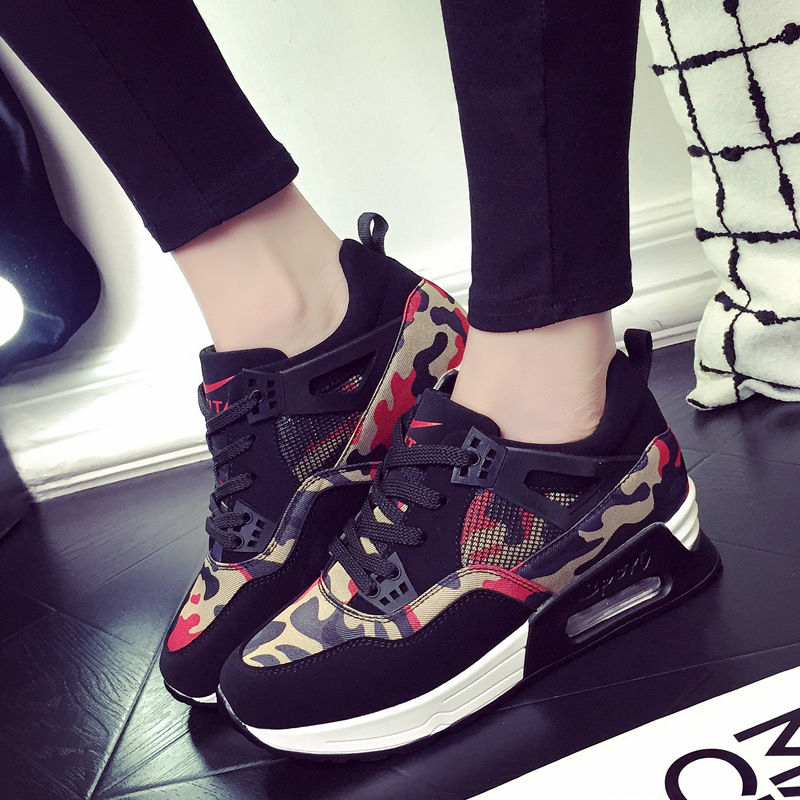 Mesh Air Cushion Women Thick Mattress Casual Shoes Bottom Female Height Increasing Fashion Light Platform Boot For Woman Pumps