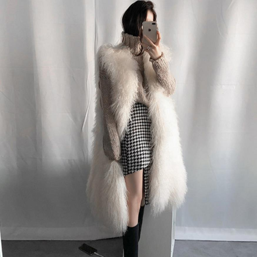 Manteau Gilet La Taille Long Fourrure Chaud Survêtement Mode Beige De Plus Arrivée Femmes Nouvelle EID29WH