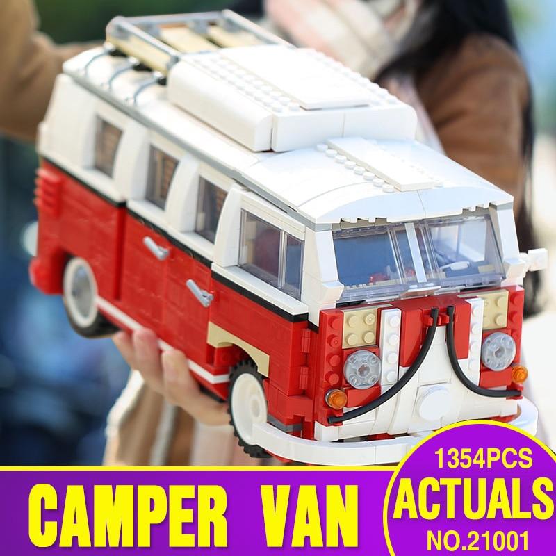 где купить LEPIN 21001 Technic Series 1354Pcs Classical T1 Camper Van Model Building Kits Bricks Educational Toys Compatible legoing 10020 по лучшей цене