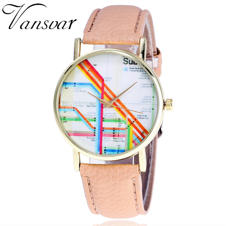 Vansvar Brand Fashion Leather New York Subway Map Watch Casual Women Wrist Watches Ladies Quarzt Watch Relogio Feminino V34 new geneva ladies fashion watches women dress crystal watch quarzt relojes mujer pu leather casual watch relogio feminino gift