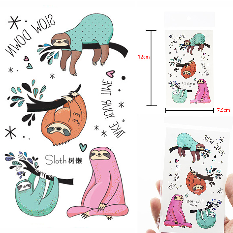 Watercolor Sloth Temporary Tattoo Sticker Waterproof Women Fake Tattoos Men Children Body Art Hot Design 12X7.5cm