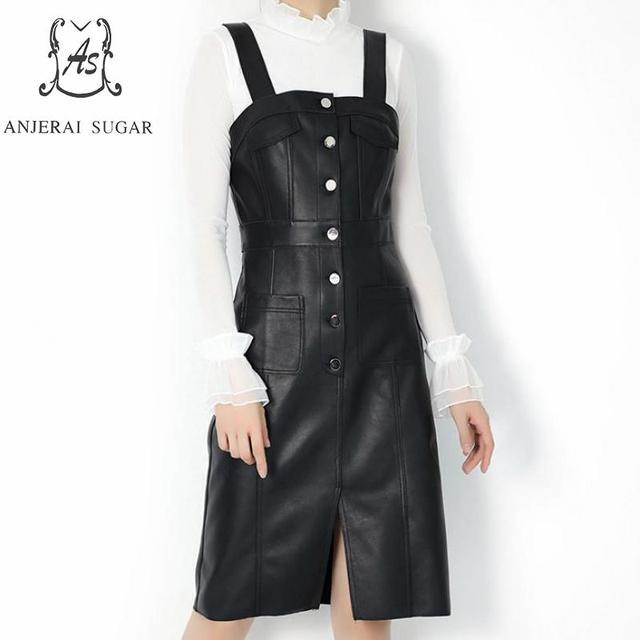 women dress maxi sexy slim black sheepskin Genuine leather dresses Pocket sling Single breasted Vest mujer vestidos clothing