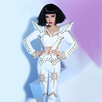 White Punk Style Rivets Fashion Sexy Luxurious Costumes Set Nightclub Bar Ds Dj Female Singer Dance Performance Stage Wear