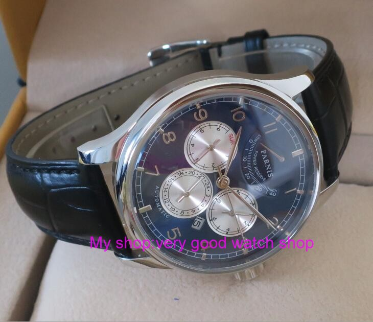 42MM PARNIS 26 jewels Japanese 9100 automatic Self-Wind Mechanical watches blue dial Sapphire Crystal men's watch 45sy automatic self wind men business fashion simple watches sapphire mirror black stainless steel strap blue dial mechanical clock