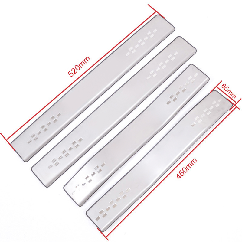 4pcs Stainless Steel Car Styling Side Door Sill Threshold Scuff Plate Trims Tread Plate Pedals For
