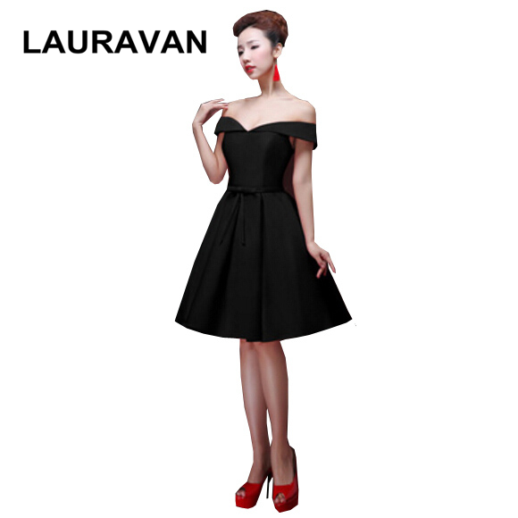 Beautiful Pretty Short Special Occassion Black Boat Neck Party Dresses For Bridesmaid Girls Black Ball Gowns Free Shipping