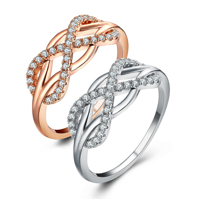 LNRRABC Crystal Infinity Stainless Steel Rose Golden Silver Rings For Women Fema