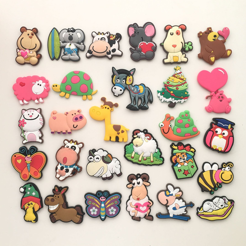 Free shipping (10pcs/lot) Cute Cartoon Animal fridge magnets whiteboard sticker Silicon Gel Refrigerator Magnets Kids gift