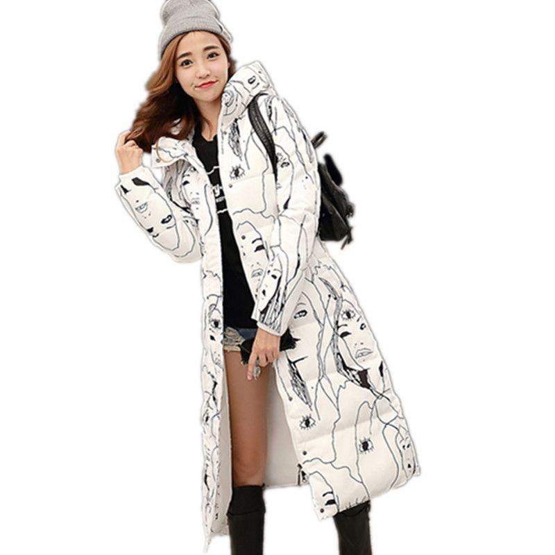 New large size Coat women cotton long section Korean winter coat thicker Slim Down padded jacket warm cute student 2014 winter new top 90 european stations velvet waist slim flouncing long section of a large swing down