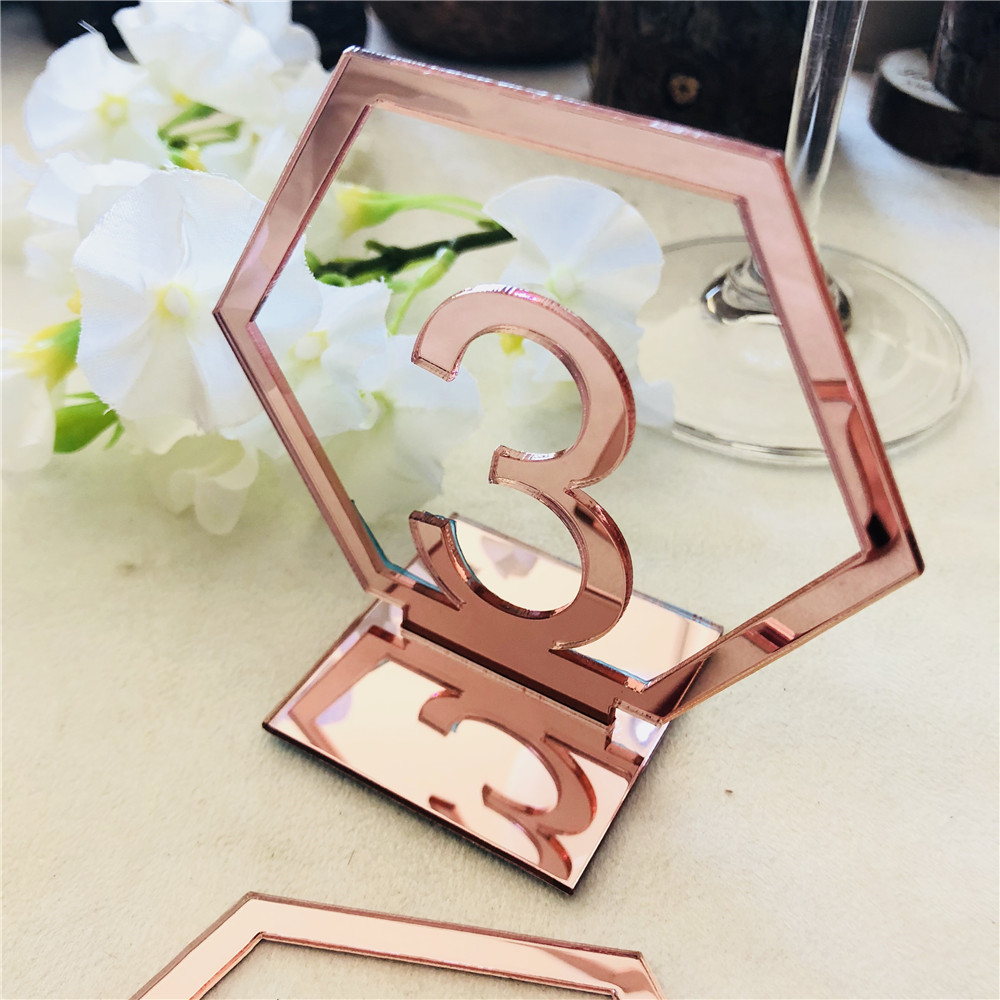 Acrylic Rose Gold Table Numbers Wedding Table Stand Number Sign Engagement Mariage Decoration Table Centerpieces (4)
