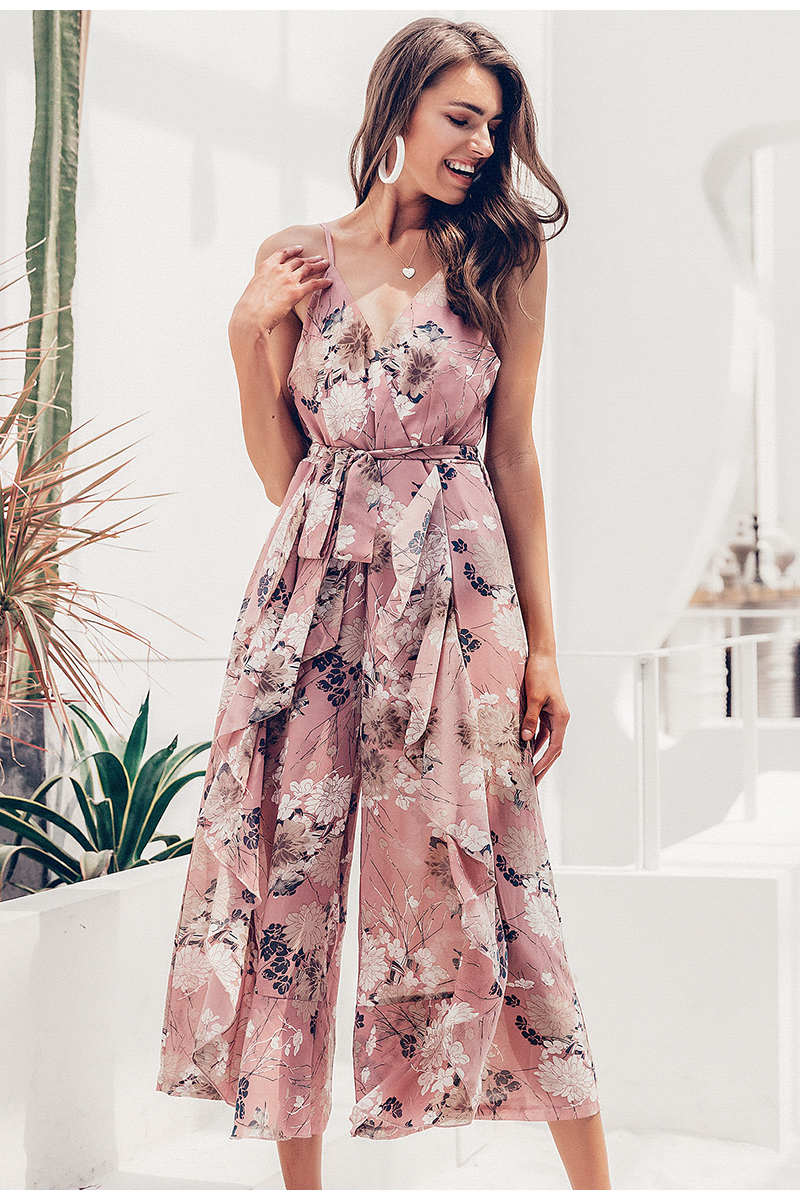 Simplee Bohemian floral print women jumpsuit Sexy v-neck spaghetti strap sashes jumpsuit romper Elegant ruffled female overalls 6