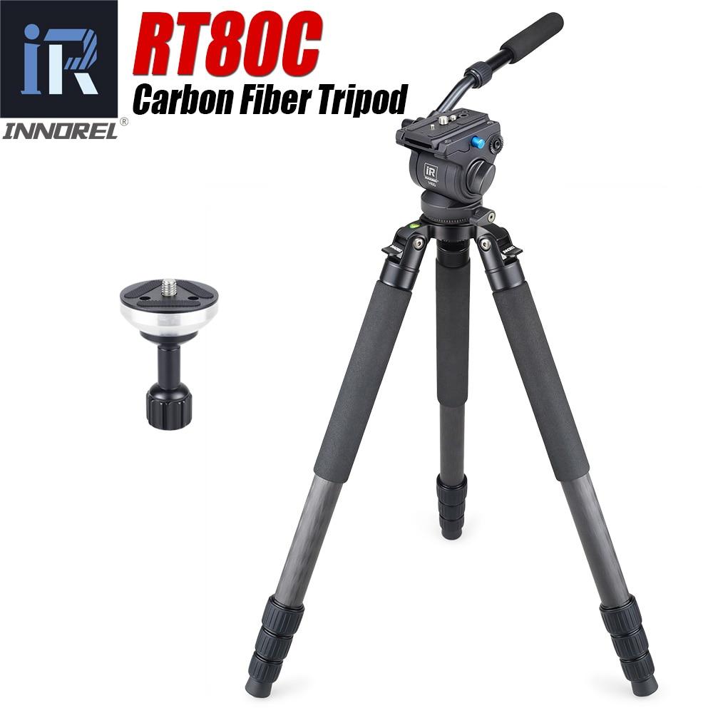 RT80C professionnel trépied en fibre de carbone pour DSLR caméra vidéo caméscope robuste observation des oiseaux caméra support bol trépied 20kg max