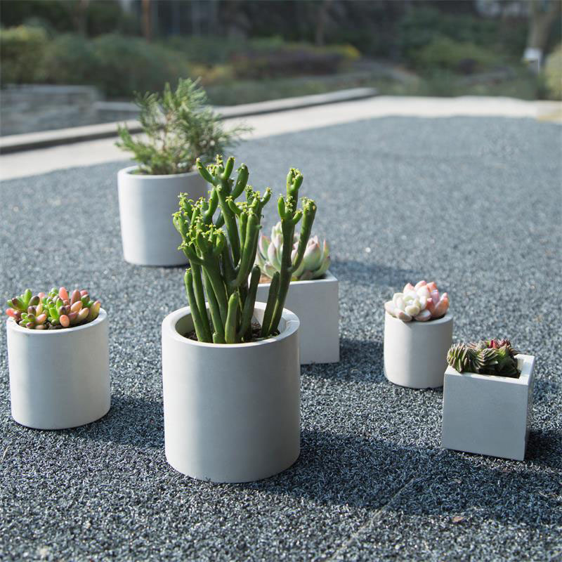 Round and square cement flower pot silicone mold home decoration crafts succulent plants concrete planter vase molds