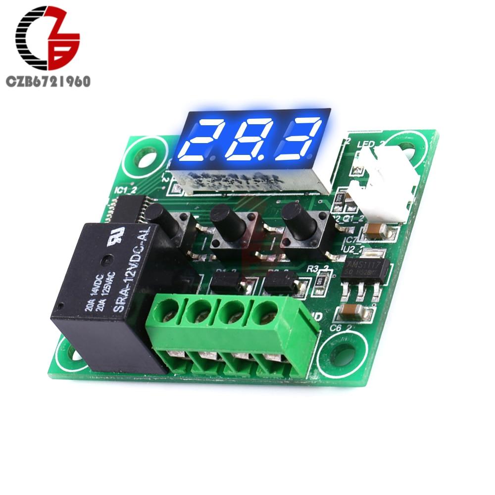 W1209 LED Digital Thermostat Controller Temperatur Temp Steuerschalter Modul Bord 12 V DC-50-110 /° C mit Wasserdichten Sensor Sonde Blau