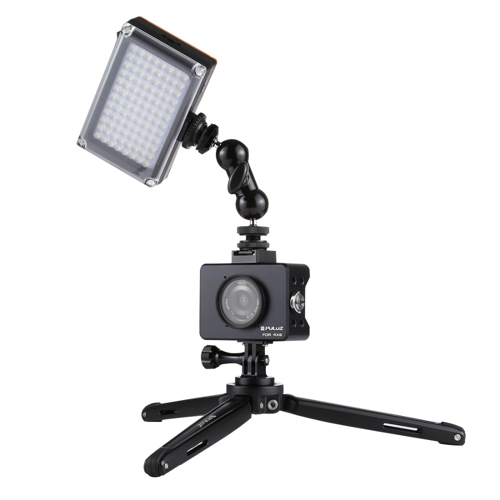 PULUZ ensemble trépied pour Sony RX0 boîtier coque Cage + rotule bras magique + trépied de bureau support + lumière + Kits Microphone noir - 2