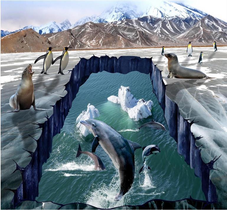ФОТО 3d floor Sea World Dolphin self- adhesive wallpaper pvc vinyl flooring waterproof wallpaper for bathroom living room kitchen