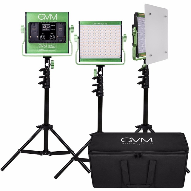 GVM 480 LED Video Light Kit Dimmable Bi-color LED Video Light With Stand Set for Video Studio and Photography Shooting Lights