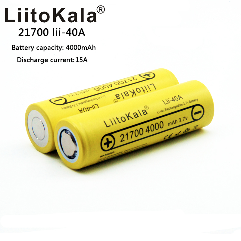 2019 LiitoKala 21700 4000mah Rechargeable Battery Lithium 40A 3.7V 10C Discharge High Power Batteries High Drain Batteries