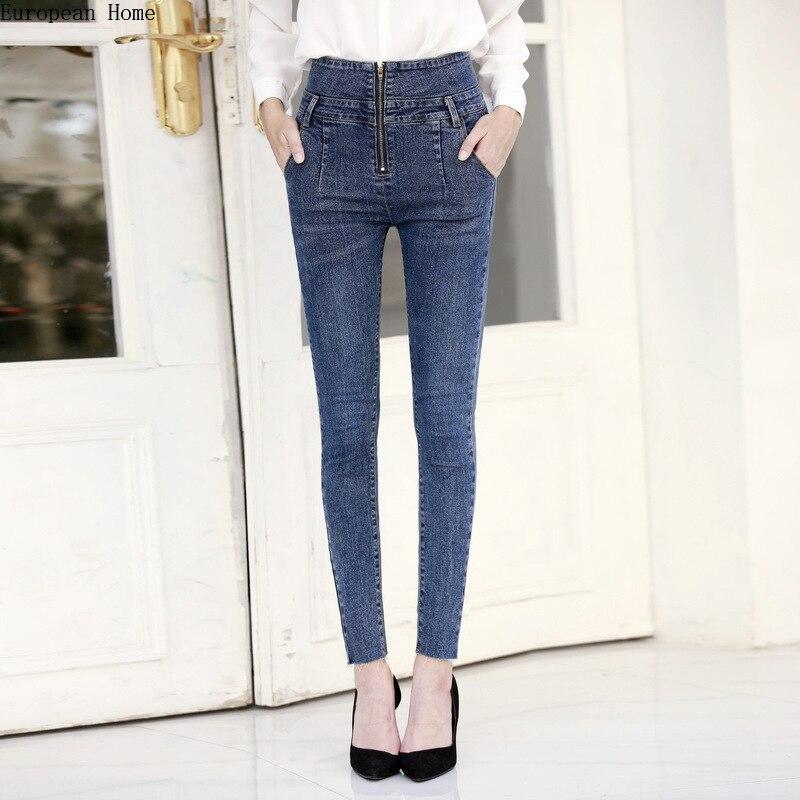 2019 nueva ropa de mujer-luz de color cintura alta Jeans pantalones lápiz cremallera pantalones ajustados Simple vaqueros de Mujer plus tamaño de verano