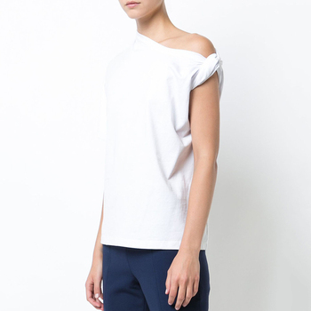 TWOTWINSTYLE Ruched Basic T Shirt For Women Short Sleeve Big Size Irregular White T Shirts Top 2019 Summer Fashion New Clothing 1