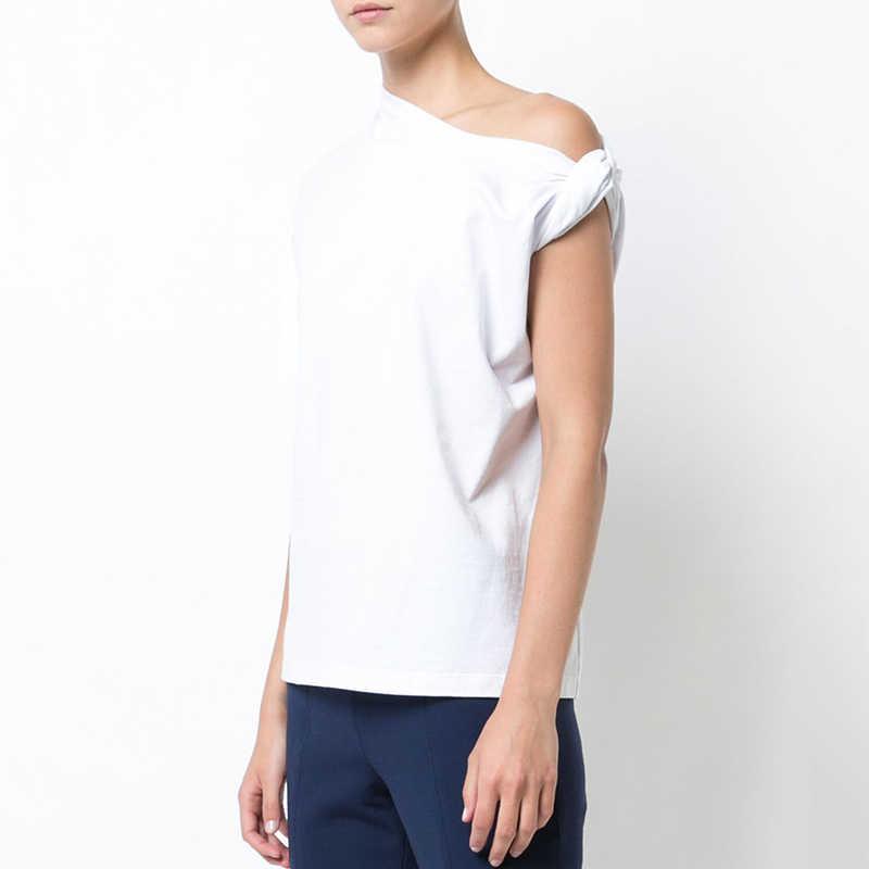 Twotwinstyle Ruched Dasar T Kemeja untuk Wanita Lengan Pendek Ukuran Besar Tidak Teratur Putih T Kemeja Atas 2019 Musim Panas Fashion Baru pakaian