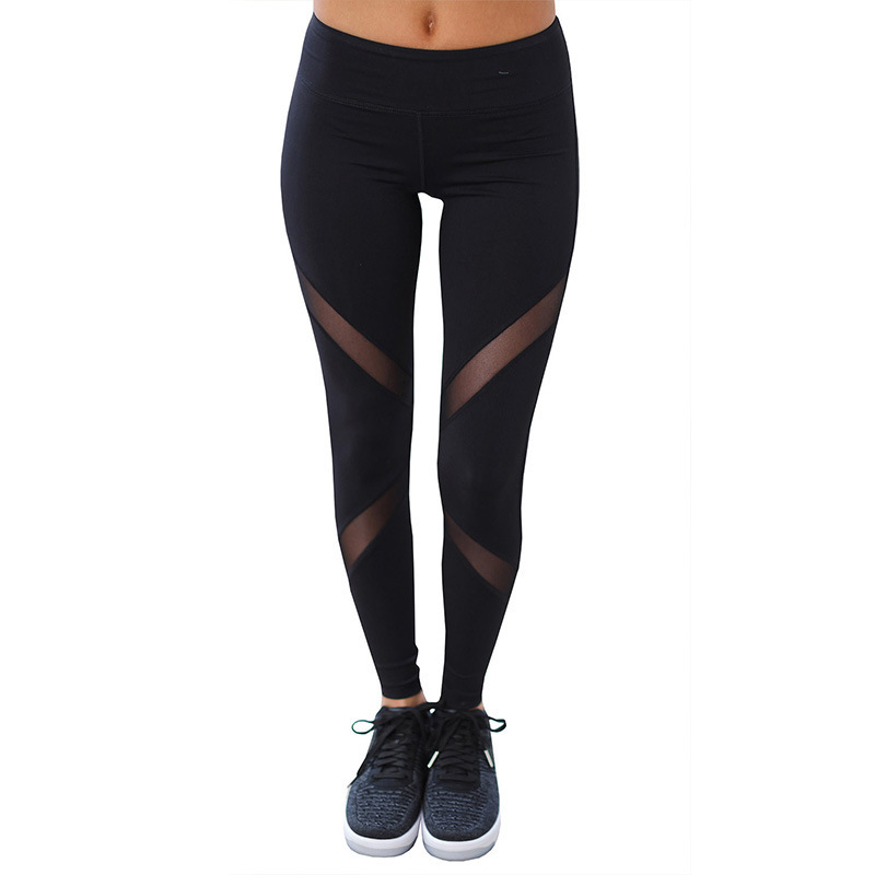 fashion Sexy Women Leggings Gothic Insert Mesh Design Trousers Pants Big Size Black Capris Sportswear New Fitness Leggings
