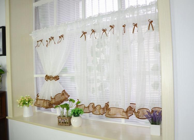 White Roman Kitchen Tulle Curtain 2