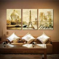 Trittico Vintage Retro Viaggi Pairs London City Tower Eiffel Art Print Poster Shabby Chic Immagine Della Parete della Tela di canapa Pittura Casa