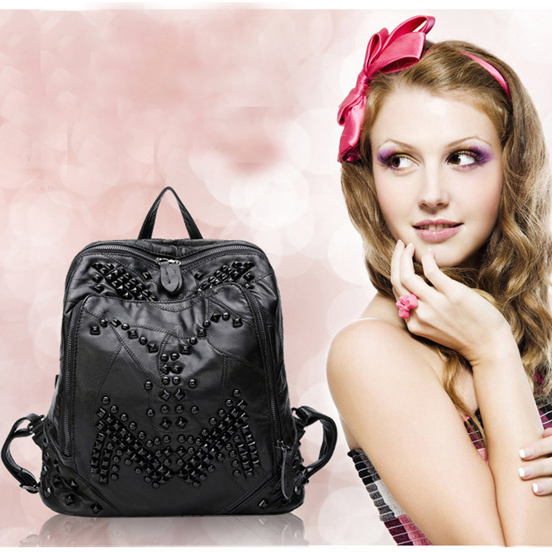 2017 Fashion Rivet Genuine Leather Europe Backpack Woman Leisure Travel Soft Sheepskin Black Zipper Double Shoulder Bag for Gift in europe and the big tide of ms han edition fashion leisure joker soft pu leather backpack backpack personality simple bag