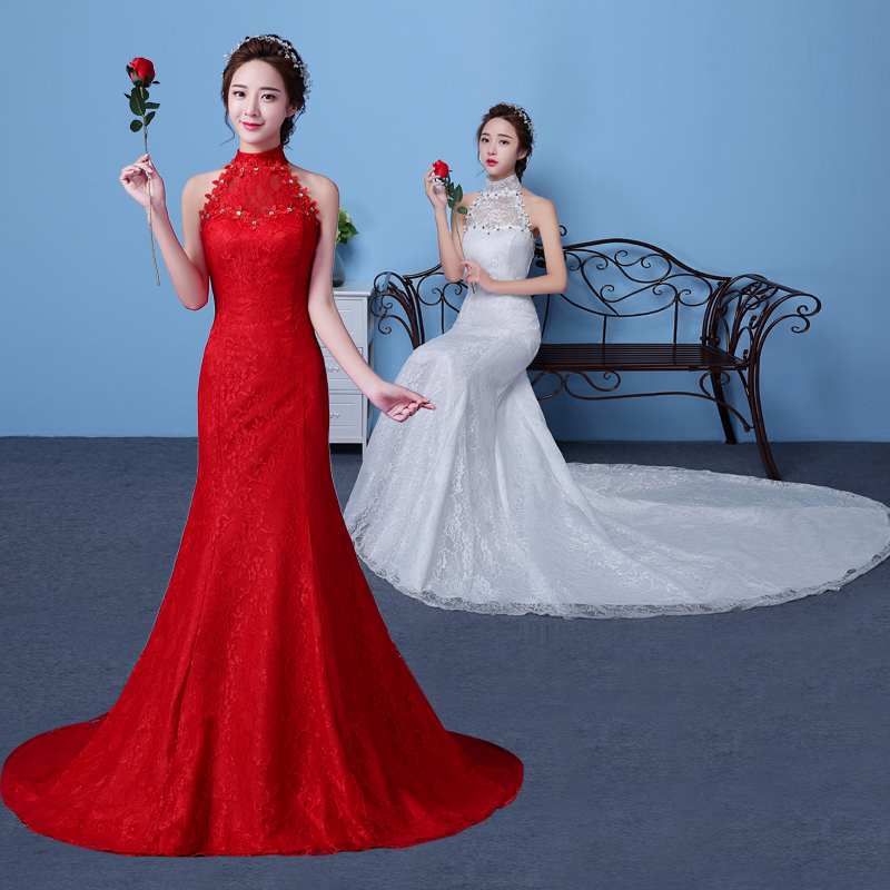 Autumn spring 2017 new train white red mermaid for Big red wedding dresses
