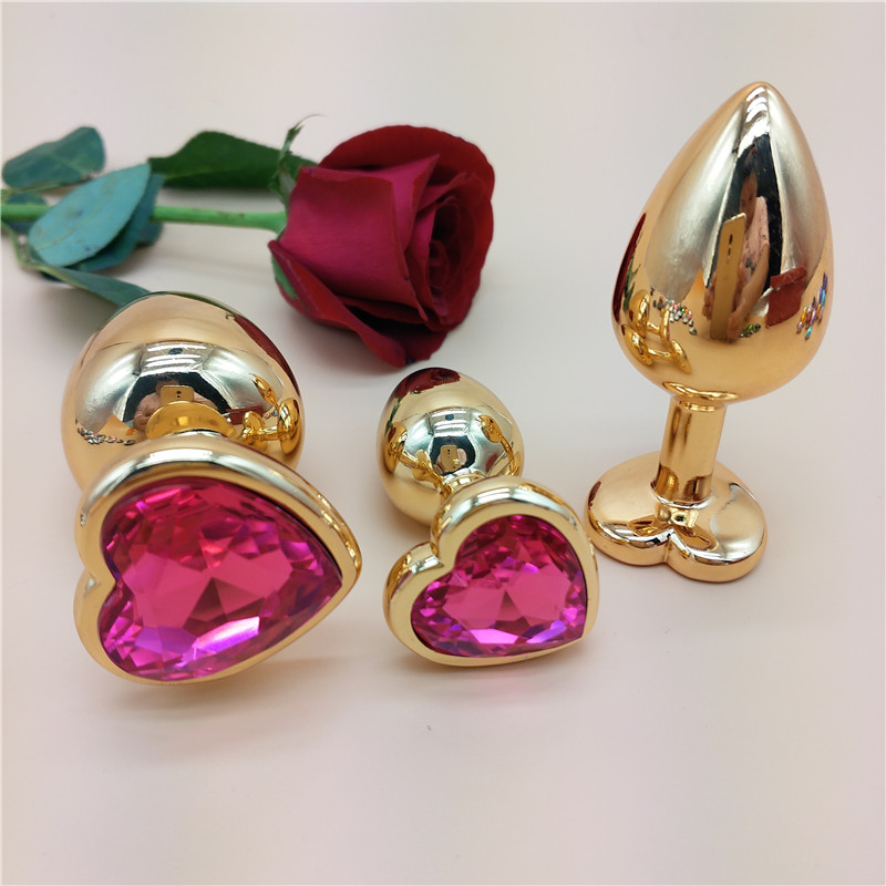 AUEXY Golden Buttplug Heart Stainless Steel Metal Butt Plugs Tapon Anal Sextoys for Woman Men Gay Erotic Analplug Jewel Produces in Vibrators from Beauty Health