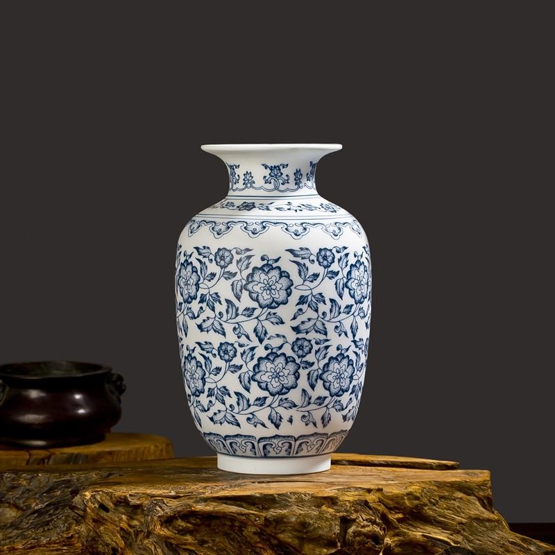 Blue and White Porcelain Vases Interlocking Lotus Design Flower ...