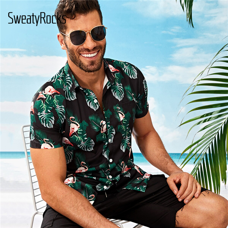 SweatyRocks Men Tropical And Flamingo Print Shirt Holiday Short Sleeve Boho Shirts 2019 Summer Streetwear Tops Button Up Shirts