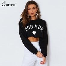 CWLSP 2018 DOG CAT MOM Funny Letter Print Sweatshirt For Women Sexy Long Sleeve Crop Tops Warm Female Autumn Clothes QA2789 недорого