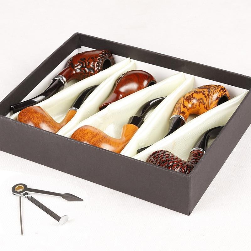 Dřevěné barevné kouřové potrubí 6ks / Set Tobacco Pipe 16CM Držák k narozeninám pro přítele Otec Dědeček s nožem