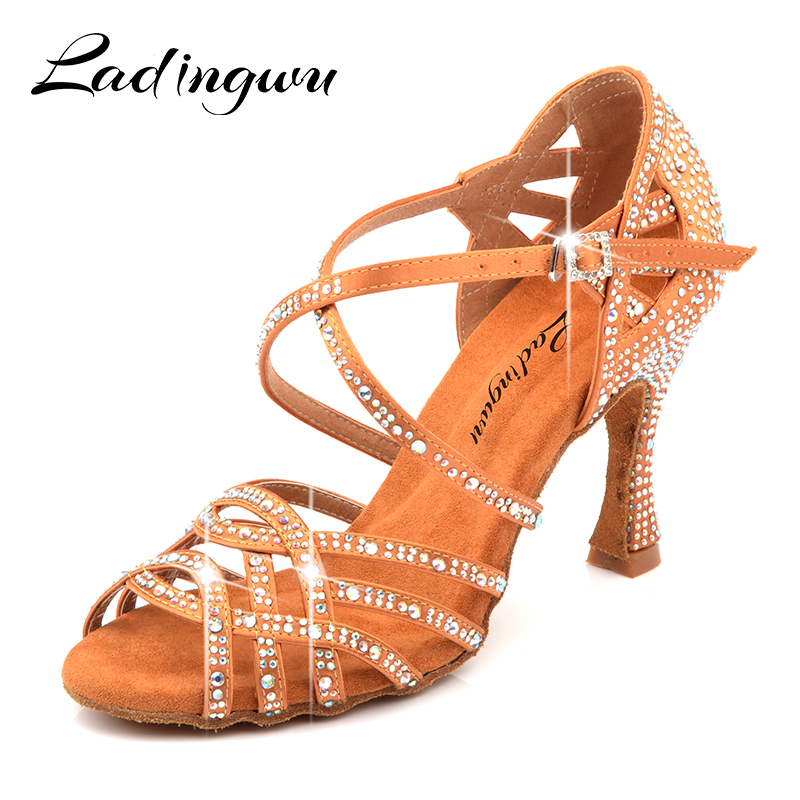Ladingwu Silk Satin Apricot And Bronze Latin Dance Shoes Champagne Color Rhinestone Salsa Dancing Shoes Woman