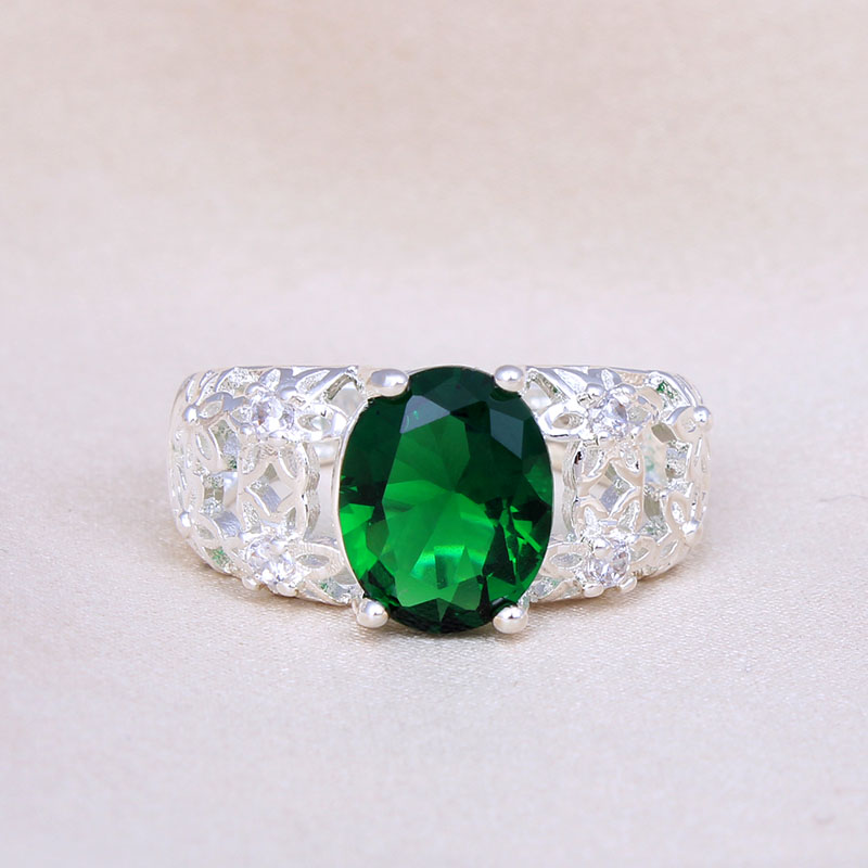 Red Blue Stone : Aliexpress buy silver plated color ring hollow green