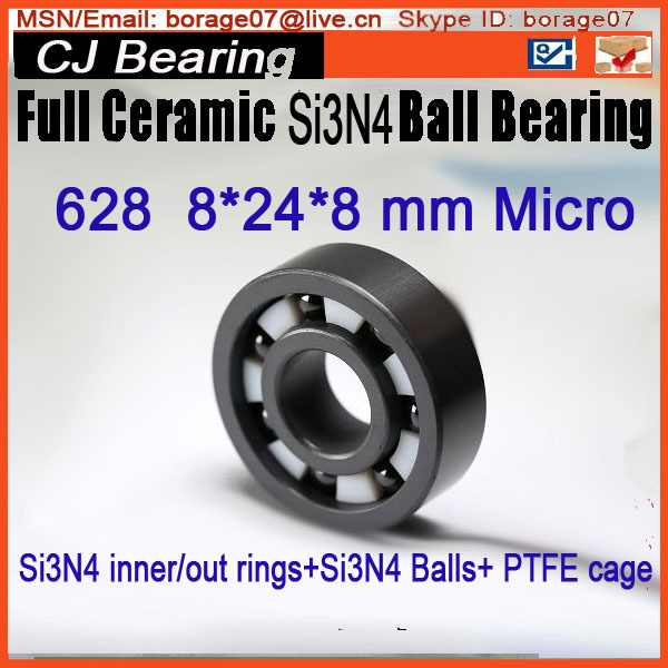 SI3N4 full ceramic ball bearing 628  8*24*8mm 20mm bearings 6004 full ceramic si3n4 20mmx42mmx12mm full si3n4 ceramic ball bearing