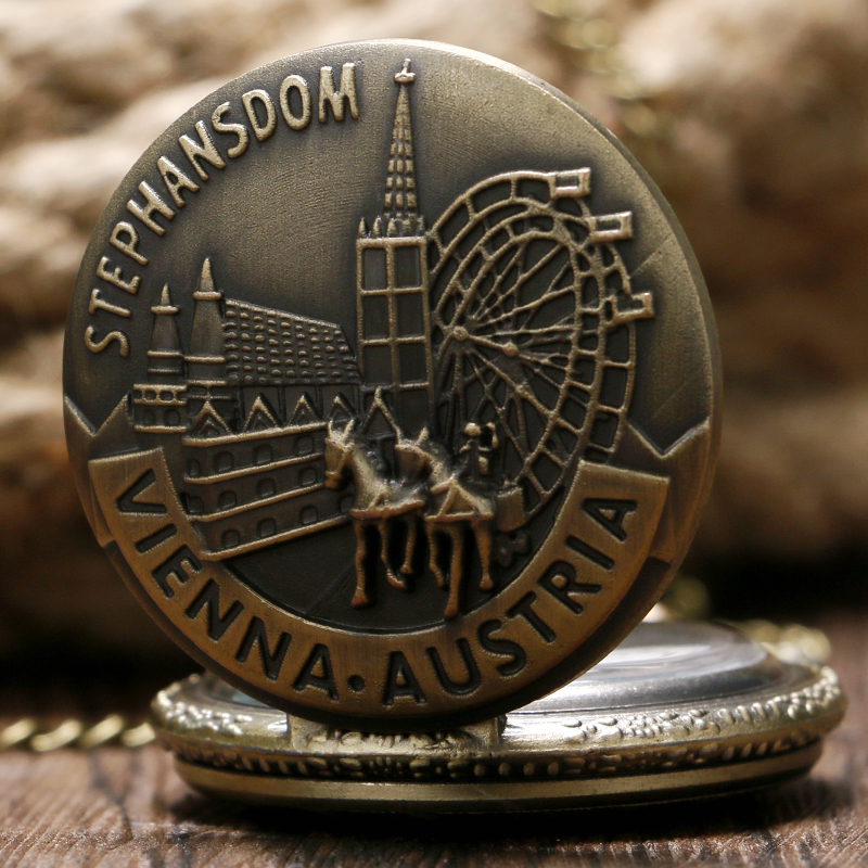 Stephansdom Vienna Austria Souvenir Pocket Watch Bronze Retro Vintage Quartz Necklace Men Women Pendant Chain Gift