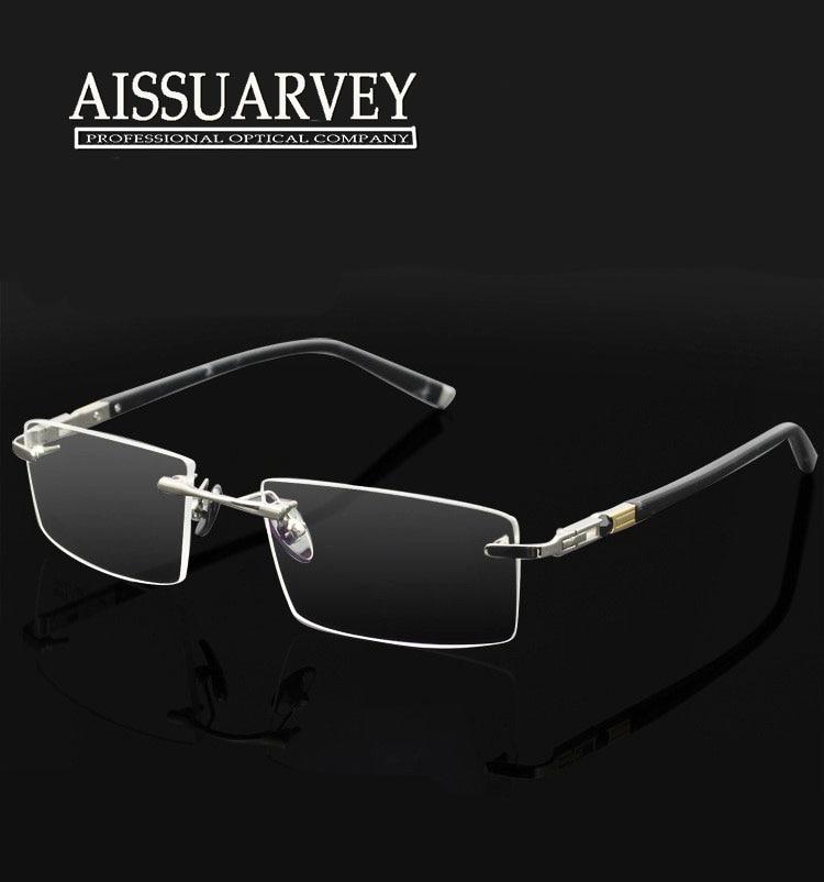 b3cc093c8f7 Men glasses frame optical rim less titanium alloy metal eyeglasses fashion  brand designer prescription online 1622