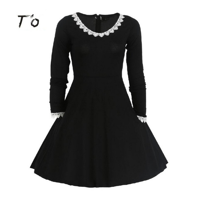 f0bd1c410a72 T O Womens Autumn Winter Black Long Sleeve Round Neck White Lace Trim Tunic  Swing