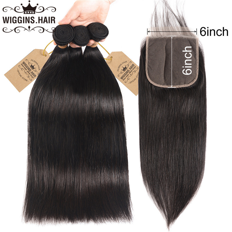 Wiggins Closure Human-Hair-Bundles Remy-Hair Brazilian Straight with 6x6 Free-Part