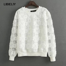 New Nice Casual Round Neck Hedging Sweatshirt Women Lace Hollow Out Female Hoodies Loose All-Match Bottoming Sudaderas S~XL