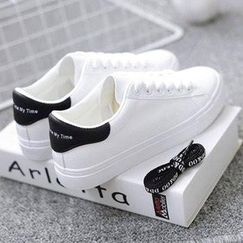 BODENSEE Zapatillas blancas Mujeres Zapatos de lona Mujeres Moda Zapatos vulcanizados Verano Casual Zapatillas Mujer Tallas grandes 35-42 1